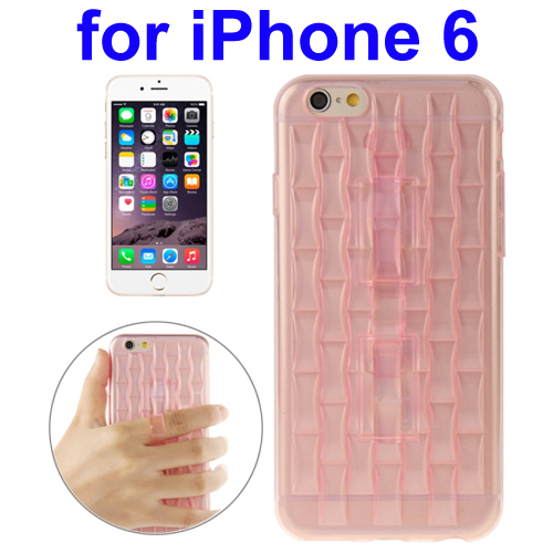 Ice Sculptures Design TPU Protective Back Cover for iPhone 6 with Handle (Pink)