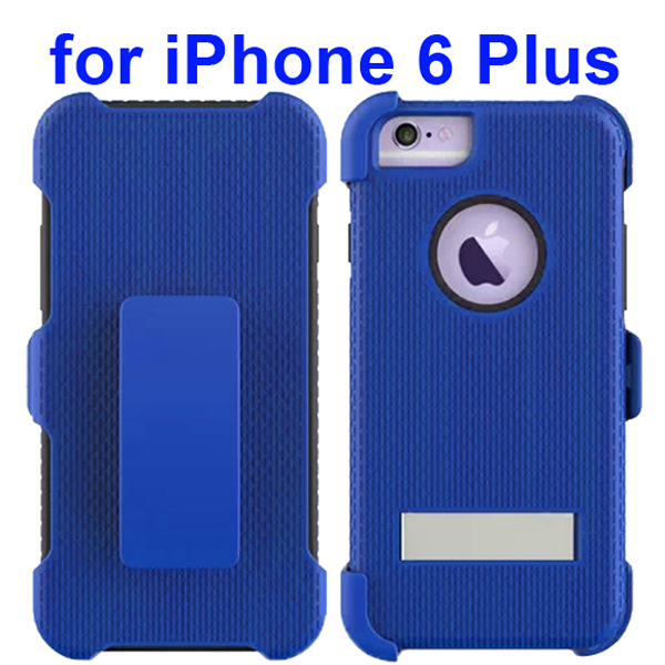 3 in 1 Pattern Rugged Heavy Duty Protective Hybrid Case for iPhone 6 Plus 5.5 Inch with Kickstand (Blue)