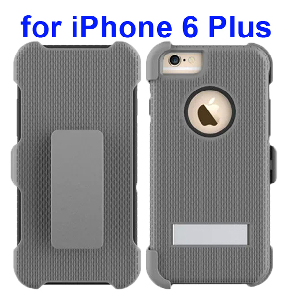3 in 1 Pattern Rugged Heavy Duty Protective Hybrid Case for iPhone 6 Plus 5.5 Inch with Kickstand (Gray)