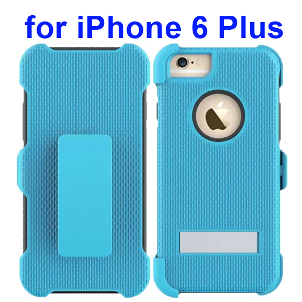3 in 1 Pattern Rugged Heavy Duty Protective Hybrid Case for iPhone 6 Plus 5.5 Inch with Kickstand (Baby Blue)
