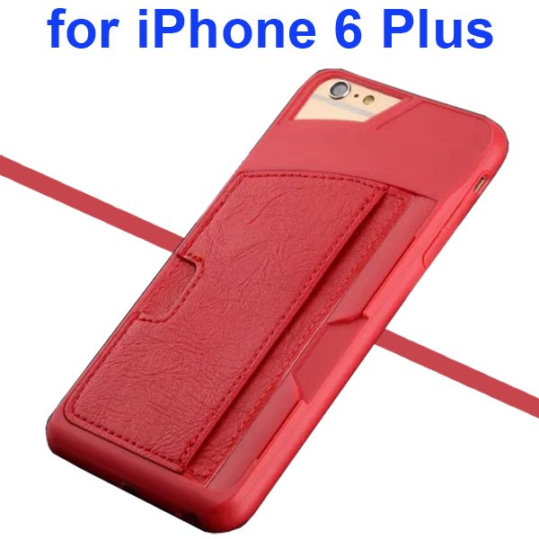 Leather Coated TPU Case for iPhone 6 Plus with Card Slots (Red)