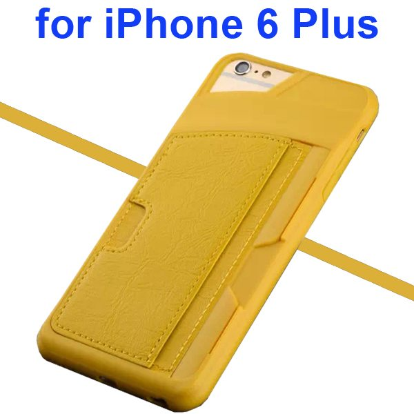 Leather Coated TPU Case for iPhone 6 Plus with Card Slots (Yellow)