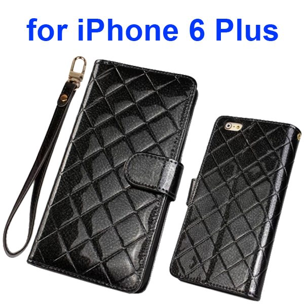 Top Grade Multifunctional Flip Leather Wallet Case for iPhone 6 Plus 5.5 Inch with Card Holder and Lanyard (Black)