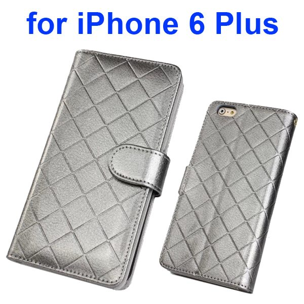 Top Grade Multifunctional Flip Leather Wallet Case for iPhone 6 Plus 5.5 Inch with Card Holder and Lanyard (Gray)