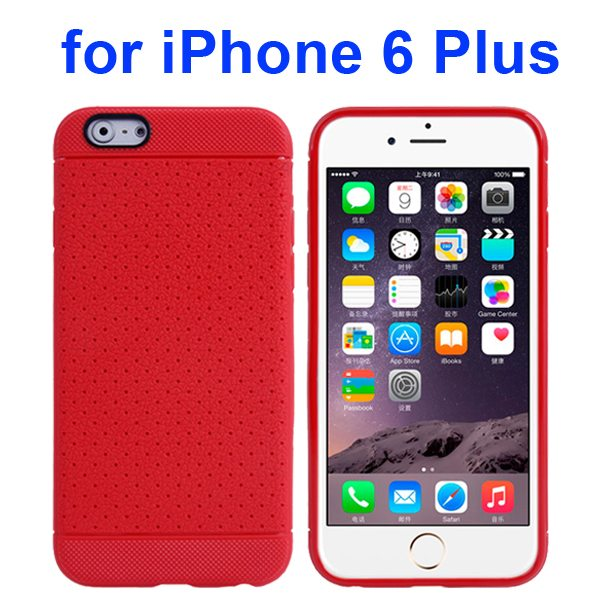 Litchi Texture Anti-Skid Protective TPU Case for iPhone 6 Plus 5.5 Inch (Red)