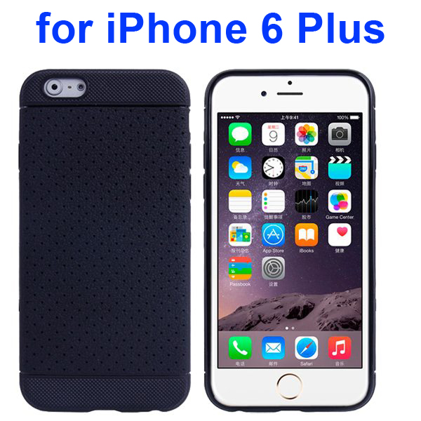 Litchi Texture Anti-Skid Protective TPU Case for iPhone 6 Plus 5.5 Inch (Black)