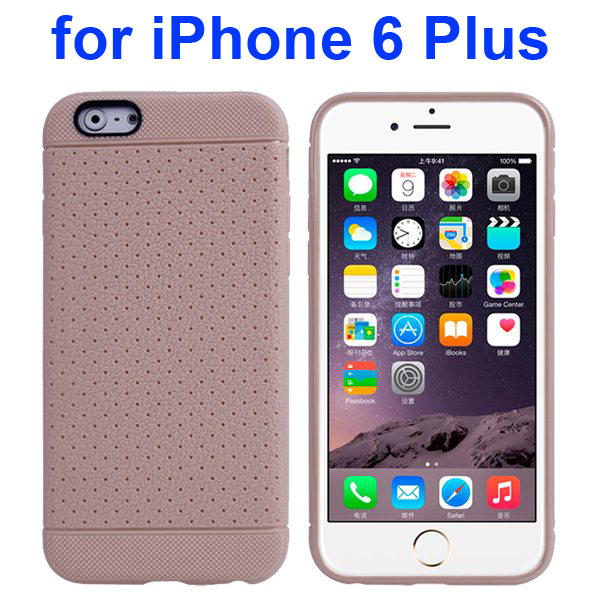 Litchi Texture Anti-Skid Protective TPU Case for iPhone 6 Plus 5.5 Inch (Gray)