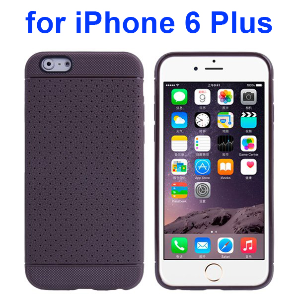 Litchi Texture Anti-Skid Protective TPU Case for iPhone 6 Plus 5.5 Inch (Coffee)