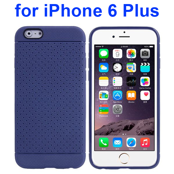 Litchi Texture Anti-Skid Protective TPU Case for iPhone 6 Plus 5.5 Inch (Dark Blue)