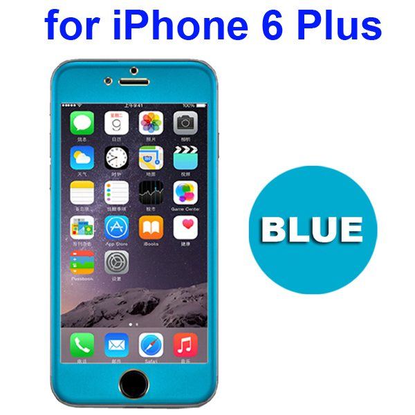 Ti Alloy Tempered Glass Screen Protector for iPhone 6 Plus (Blue)