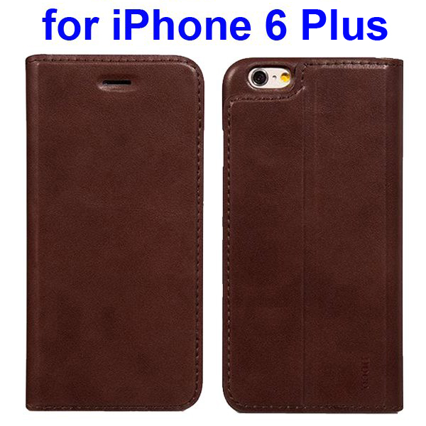 HOCO Luxury Series Suprior Quality Flip Case Leather Cover for iPhone 6 Plus (Brown)