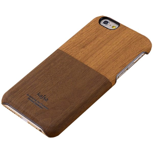 Retro Style Ultra Thin Wallet Hard Wood Case for iPhone 6 Plus 5.5 Inch with Card Slot (Dark Brown+Light Brown)