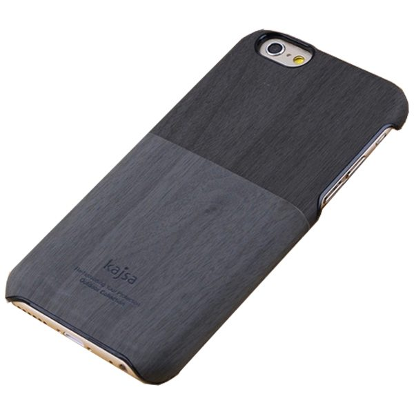Retro Style Ultra Thin Wallet Hard Wood Case for iPhone 6 Plus 5.5 Inch with Card Slot (Gray+Black)