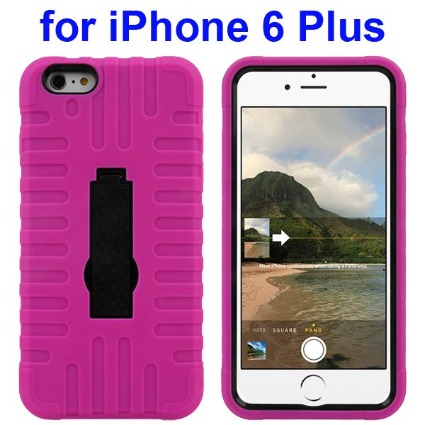 3 in 1 Pattern Vertical Stripe Robot Rugged Heavy Duty Hybrid Case Cover for iPhone 6 Plus 5.5 Inch (Rose)