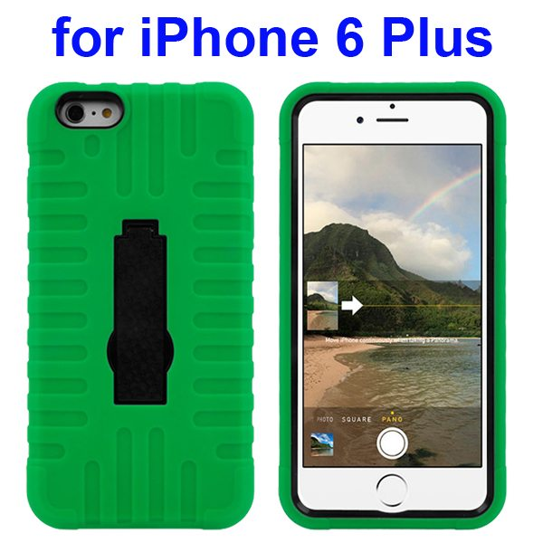 3 in 1 Pattern Vertical Stripe Robot Rugged Heavy Duty Hybrid Case Cover for iPhone 6 Plus 5.5 Inch (Green)