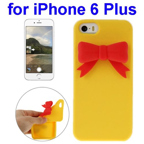 Stereoscopic Bowknot Silicone Protective Case for iPhone 6 Plus (Yellow)