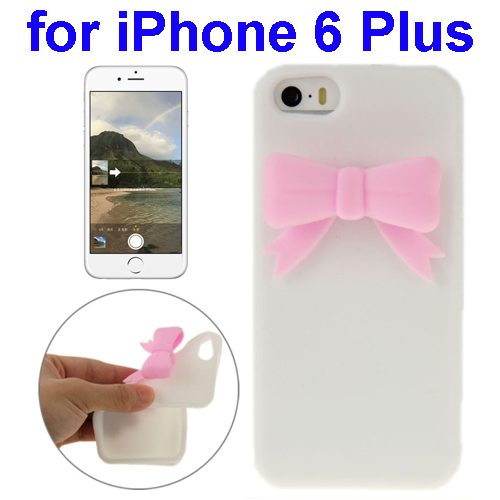 Stereoscopic Bowknot Silicone Protective Case for iPhone 6 Plus (White)