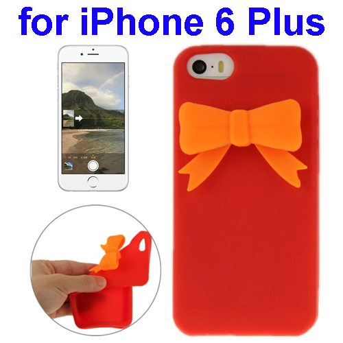 Stereoscopic Bowknot Silicone Protective Case for iPhone 6 Plus (Red)