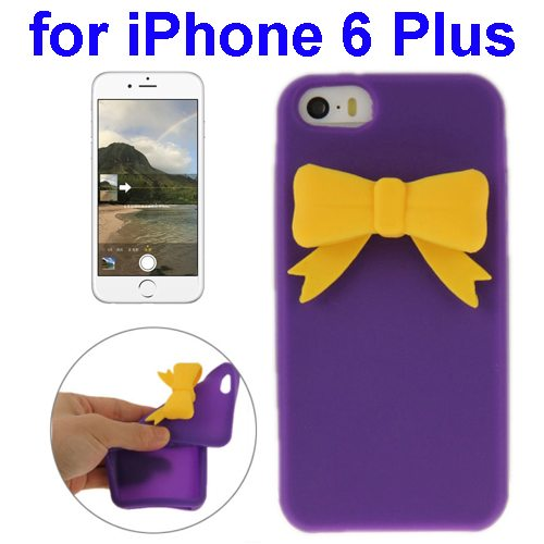 Stereoscopic Bowknot Silicone Protective Case for iPhone 6 Plus (Purple)