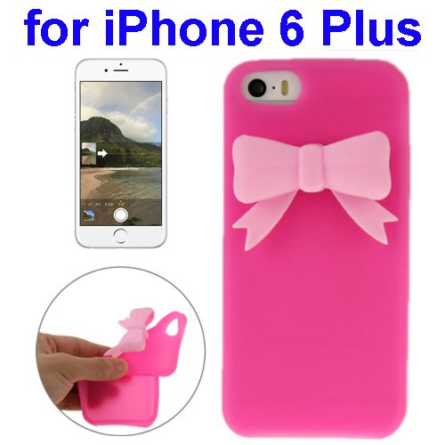 Stereoscopic Bowknot Silicone Protective Case for iPhone 6 Plus (Rose)