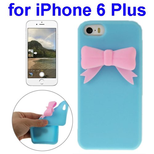 Stereoscopic Bowknot Silicone Protective Case for iPhone 6 Plus (Blue)