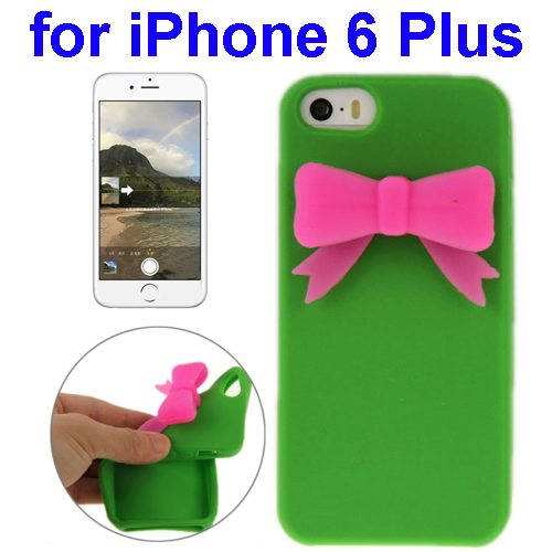 Stereoscopic Bowknot Silicone Protective Case for iPhone 6 Plus (Green)