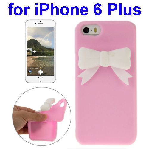 Stereoscopic Bowknot Silicone Protective Case for iPhone 6 Plus (Pink)
