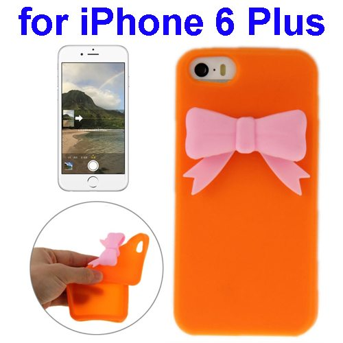 Stereoscopic Bowknot Silicone Protective Case for iPhone 6 Plus (Orange)
