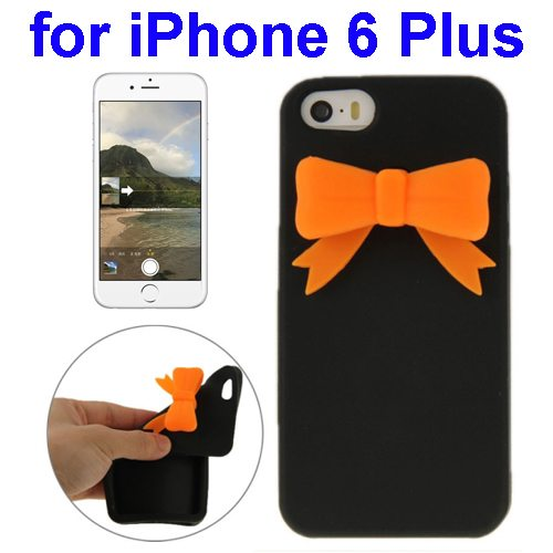 Stereoscopic Bowknot Silicone Protective Case for iPhone 6 Plus (Black)