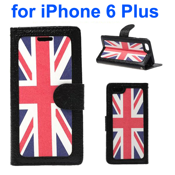 Embossed Style PU Leather Flip Cover for iPhone 6 Plus (UK Flag Pattern)
