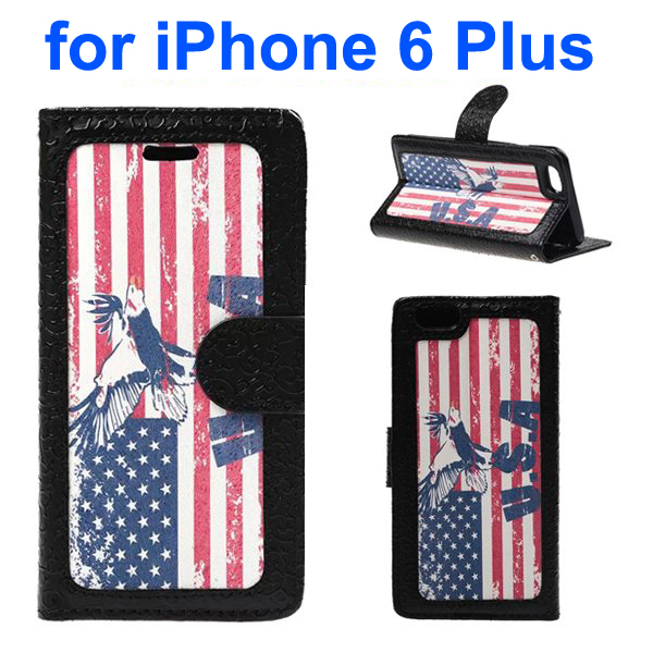 Embossed Style PU Leather Flip Cover for iPhone 6 Plus (USA Flag Pattern)