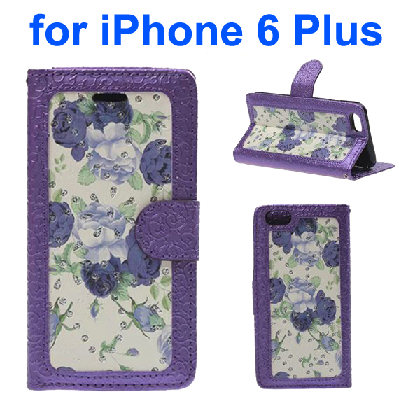 Embossed Style PU Leather Flip Cover for iPhone 6 Plus (Purple Rose Pattern)