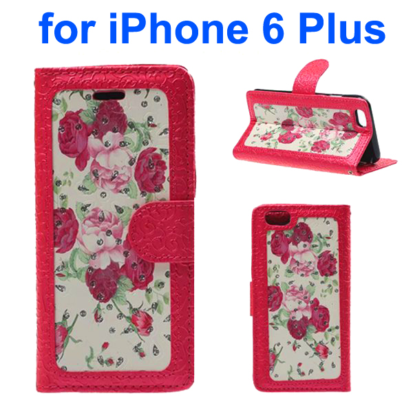 Embossed Style PU Leather Flip Cover for iPhone 6 Plus (Rose Pattern)