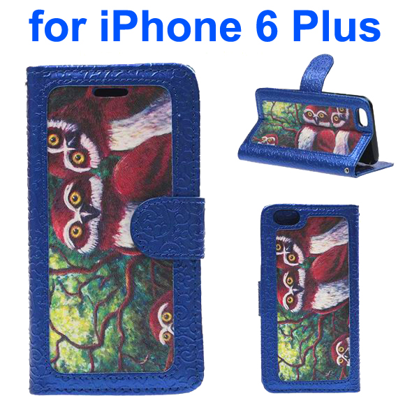 Embossed Style PU Leather Flip Cover for iPhone 6 Plus (Owl Pattern)