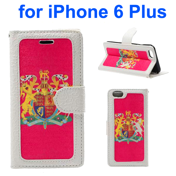 Embossed Style PU Leather Flip Cover for iPhone 6 Plus (The British National Emblem Pattern)