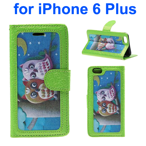 Embossed Style PU Leather Flip Cover for iPhone 6 Plus (Baby Owl Pattern)