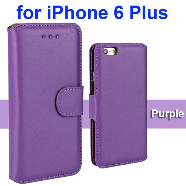 Flip Magnetic Genuine Wallet Leather Case for iPhone 6 Plus 5.5 inch (Purple)