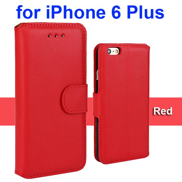 Flip Magnetic Genuine Wallet Leather Case for iPhone 6 Plus 5.5 inch (Red)