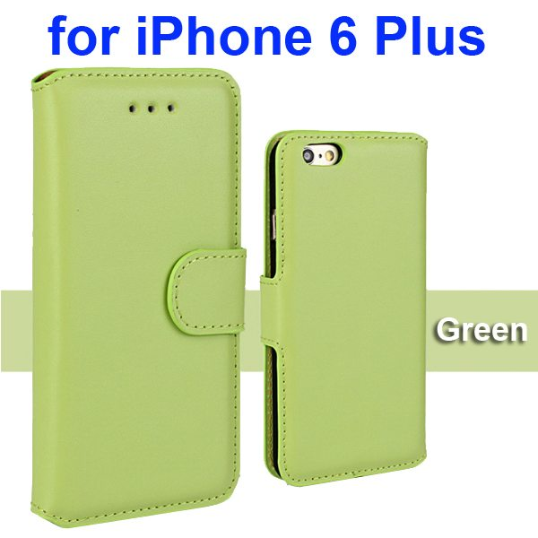 Flip Magnetic Genuine Wallet Leather Case for iPhone 6 Plus 5.5 inch (Green)