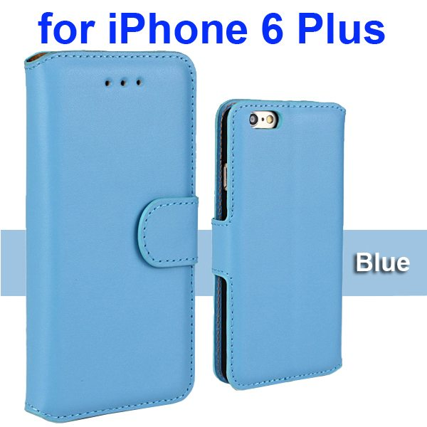 Flip Magnetic Genuine Wallet Leather Case for iPhone 6 Plus 5.5 inch (Blue)