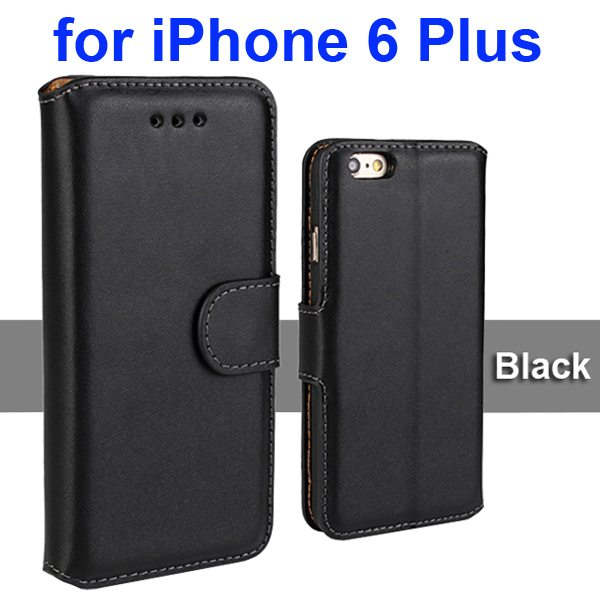 Flip Magnetic Genuine Wallet Leather Case for iPhone 6 Plus 5.5 inch (Black)