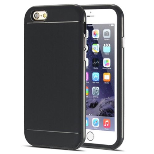 Durable Silm PC Frame and Soft TPU Protective Hybrid Case for iPhone 6 Plus (Black)