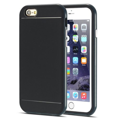 Durable Silm PC Frame and Soft TPU Protective Hybrid Case for iPhone 6 Plus (Dark Blue)