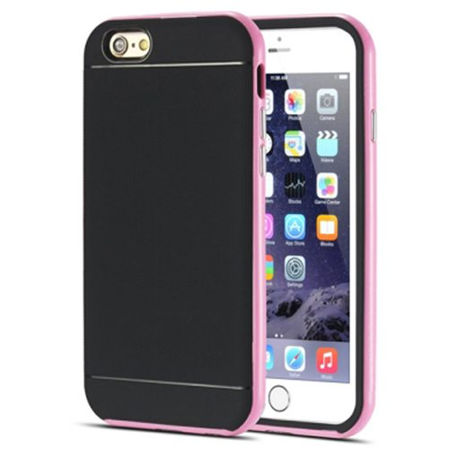Durable Silm PC Frame and Soft TPU Protective Hybrid Case for iPhone 6 Plus (Pink)