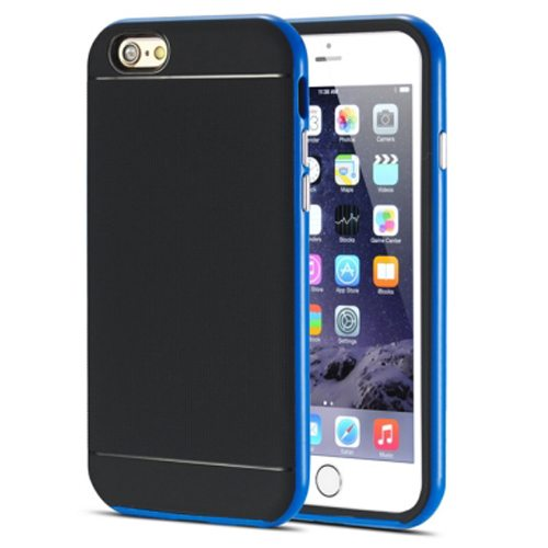 Durable Silm PC Frame and Soft TPU Protective Hybrid Case for iPhone 6 Plus (Blue)