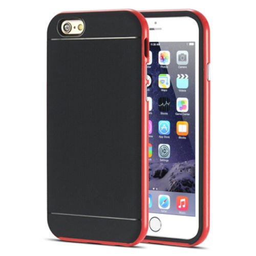 Durable Silm PC Frame and Soft TPU Protective Hybrid Case for iPhone 6 Plus (Red)