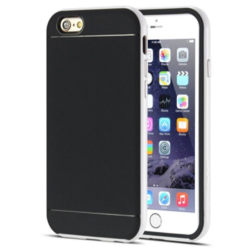 Durable Silm PC Frame and Soft TPU Protective Hybrid Case for iPhone 6 Plus (White)