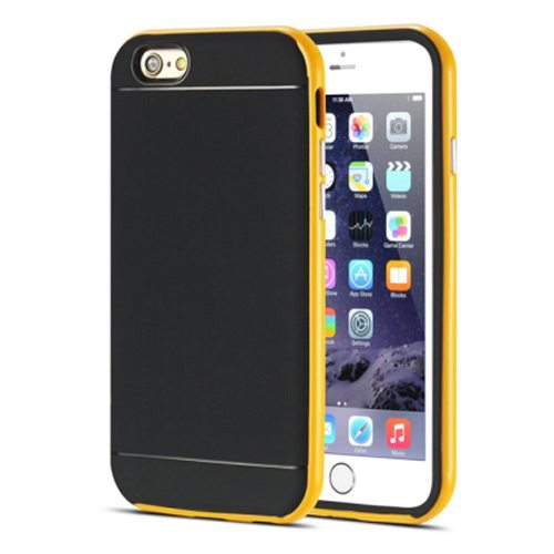 Durable Silm PC Frame and Soft TPU Protective Hybrid Case for iPhone 6 Plus (Yellow)