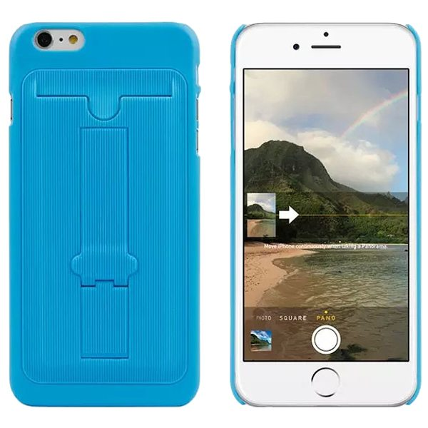 Ultrathin Hard Shockproof Cover for iPhone 6 Plus with Card Slot and Stand (Blue)