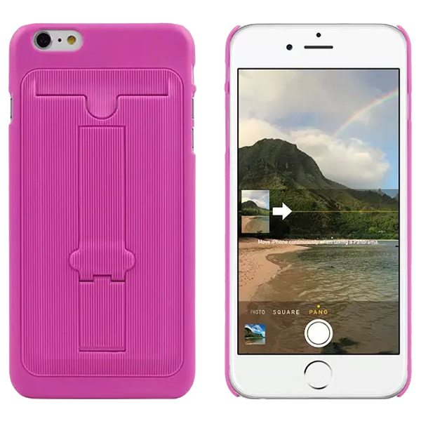 Ultrathin Hard Shockproof Cover for iPhone 6 Plus with Card Slot and Stand (Magenta)